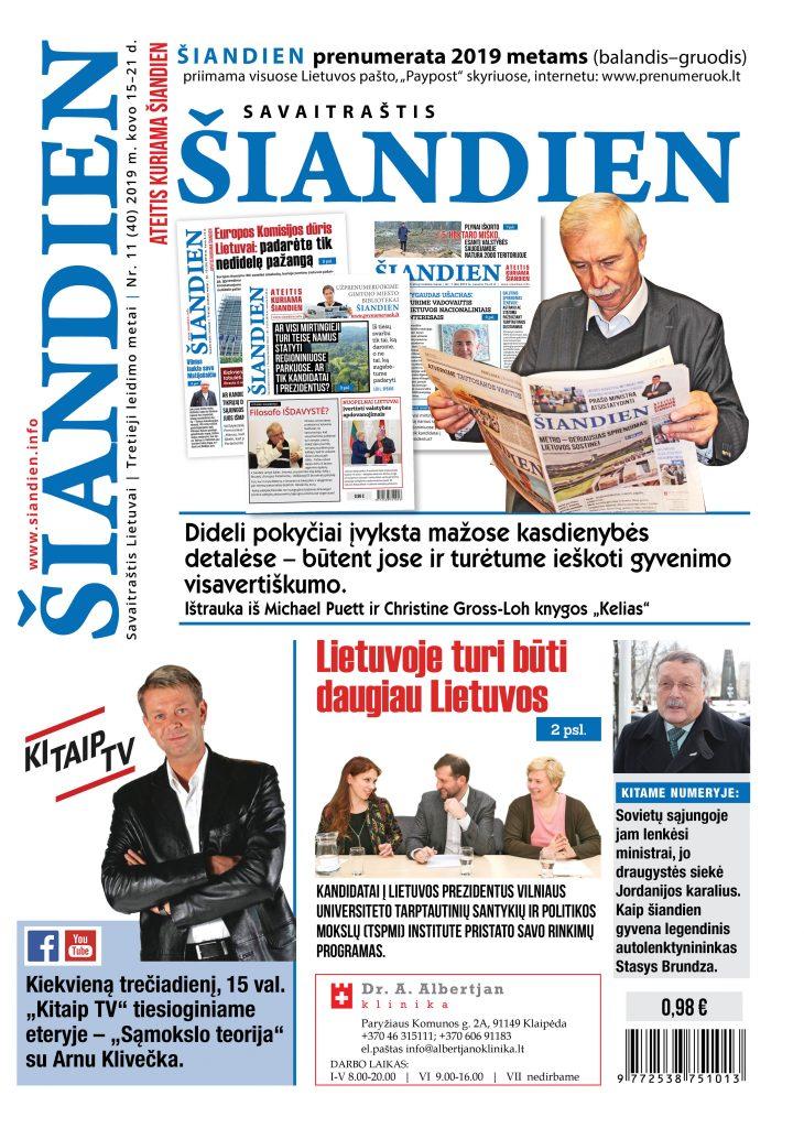 Naujas savaitraščio numeris ŠIANDIEN  2019 – Lietuvos